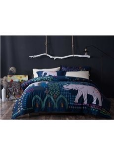 Pretty Lovely Elephant Digital Printing 4-Piece Cotton Duvet Cover Sets