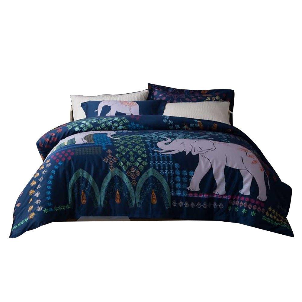 Pretty Lovely Elephant Digital Printing 4-Piece Cotton Duvet Cover Sets
