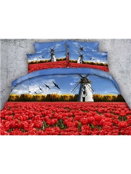 Beautiful 3D Red Tulip and Windmill Print 5-Piece Comforter Sets