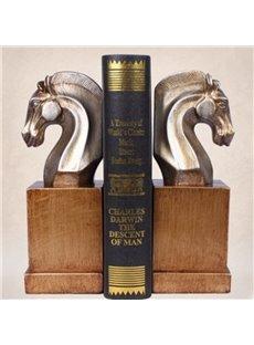 European Style Resin Horse Book Holder 2 Pieces Desktop Decoration