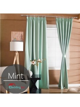 Contemporary Concise Solid Mint Polyester Custom Curtain