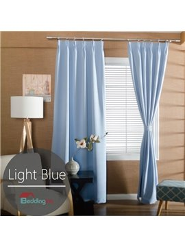 Contemporary Concise Solid Light Blue Polyester Custom Curtain