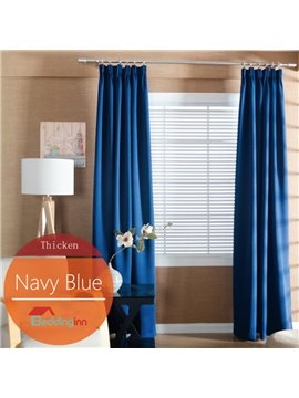 Concise Solid Navy Blue Polyester Blackout Custom Curtain