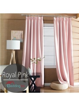 Contemporary Concise Solid Pink Polyester Custom Curtain