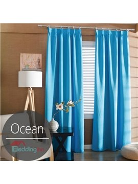 Contemporary Concise Solid Ocean Blue Polyester Custom Curtain