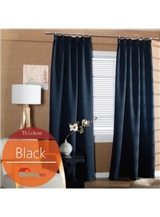 Concise Solid Black Polyester Blackout Custom Curtain