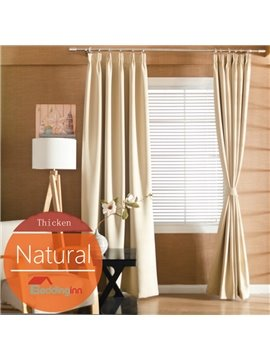 Concise Solid Natural Color Polyester Blackout Custom Curtain