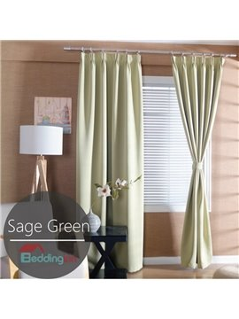 Contemporary Concise Solid Sage Green Polyester Custom Curtain