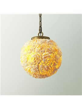 Handmade American Style White Shells Roses Design Home Decorative Pendant Light