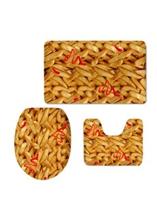Tasty French Fires Printed 3-Pieces 3D Toilet Seat Cover Sets