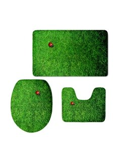 Ladybird on the Grass Printed 3-Pieces 3D Toilet Seat Cover Sets