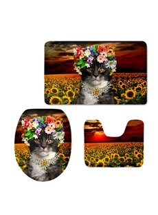 Miss Cat in the Sunflower Field 3D Printing 3-Pieces Toilet Seat Cover