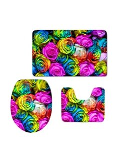 Colored Rose 3D Printing 3-Pieces Toilet Seat Cover