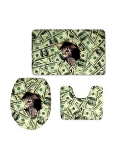 Cute Cat Hiding in the Dollar Printing 3-Pieces 3D Toilet Seat Cover
