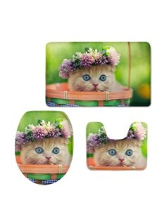Cute Kitty with Garland in the Basket 3D Printing 3-Pieces Toilet Seat Cover