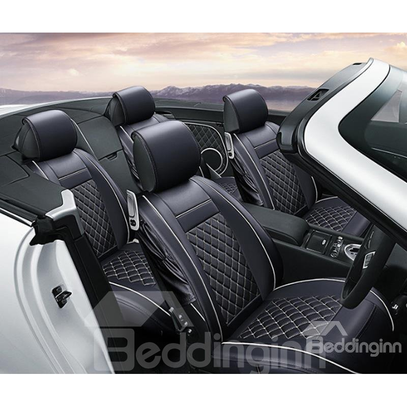 Luxurious Classic Plaid Pattern White Trims PU Leather Universal Car Seat Cover