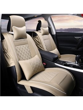 Beige Textured Durable PU Material Cost-Effective Universal Five Car Seat Cover