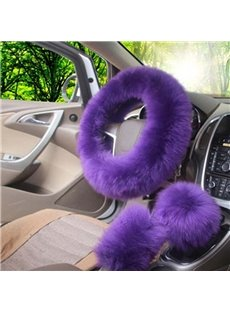 High-Grade Warm Long Plush Material Charming 3-Pieces Medium Car Steering Wheel Cover Sets