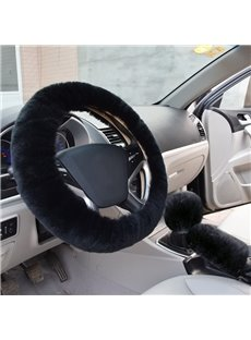 Solid Black Short Plush 3-Pieces Wool Material Medium Car Steering Wheel Cover