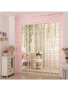 Romantic Pink Willow Leaf Design Custom String Curtain