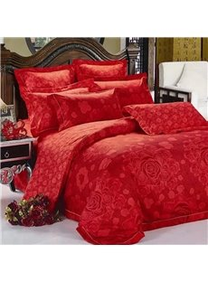 Red Blooming Flower Print 2-Piece Throw Pillow Cases