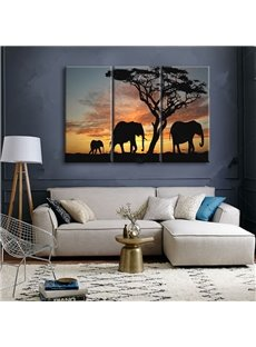 Natural Elephants in the Sunset Scenery 3 Pieces None Framed Wall Art Prints