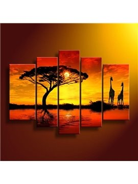 Charming Tree and Giraffe in the Sunset Pattern 5 Pieces Wall Art Prints