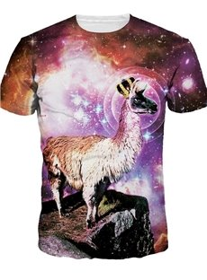Round Neck Sheep with Crown Pattern 3D Painted T-Shirt