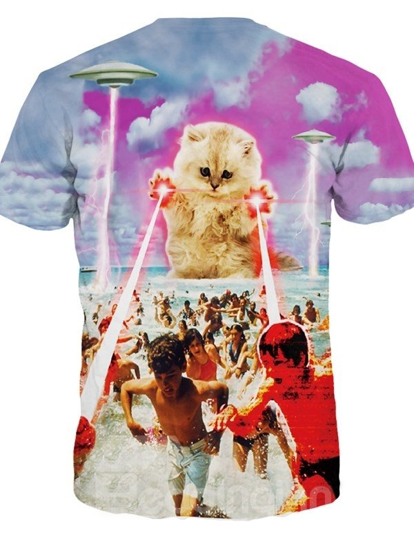Creative Round Neck Huge Cat on Sea Beach Pattern 3D Painted T-Shirt