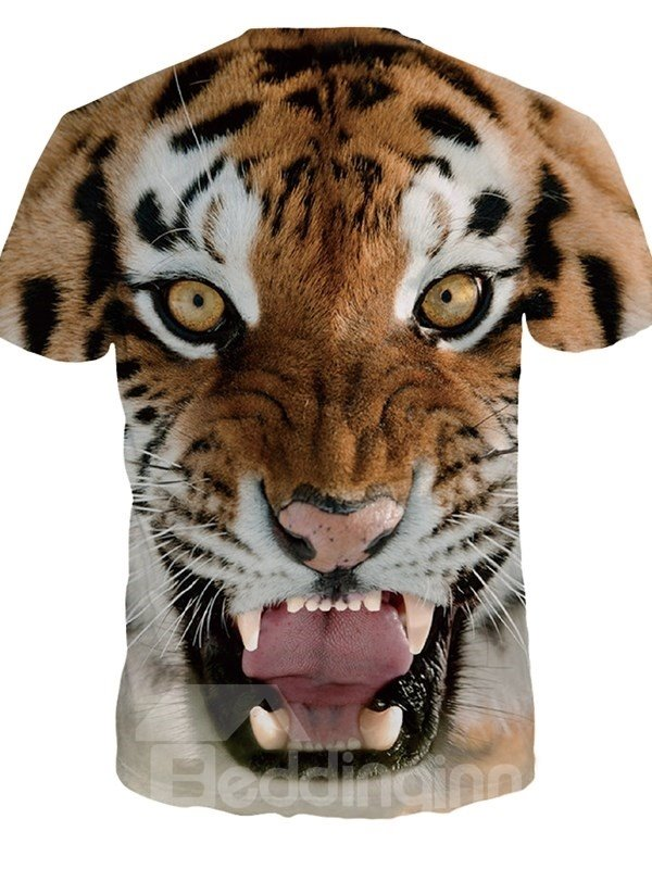 Tiger Face Pattern Spandex Comfortable Popular Round Neck 3D Painted T-Shirt