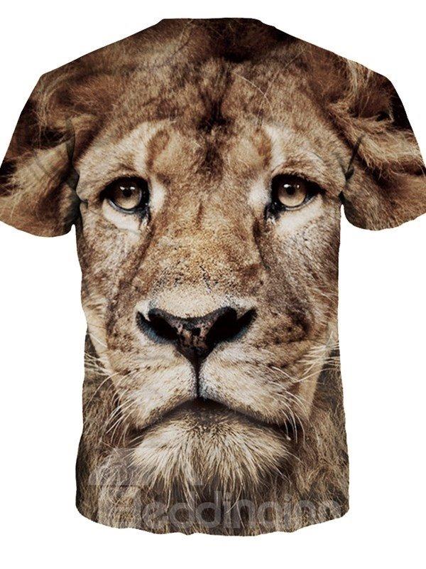 Vivid Round Neck Lion Pattern 3D Painted T-Shirt