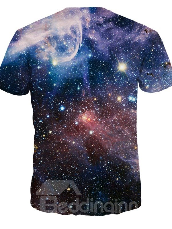 Unisex Casual Dark Purple Galaxy Short Sleeve 3D Pattern T-Shirt