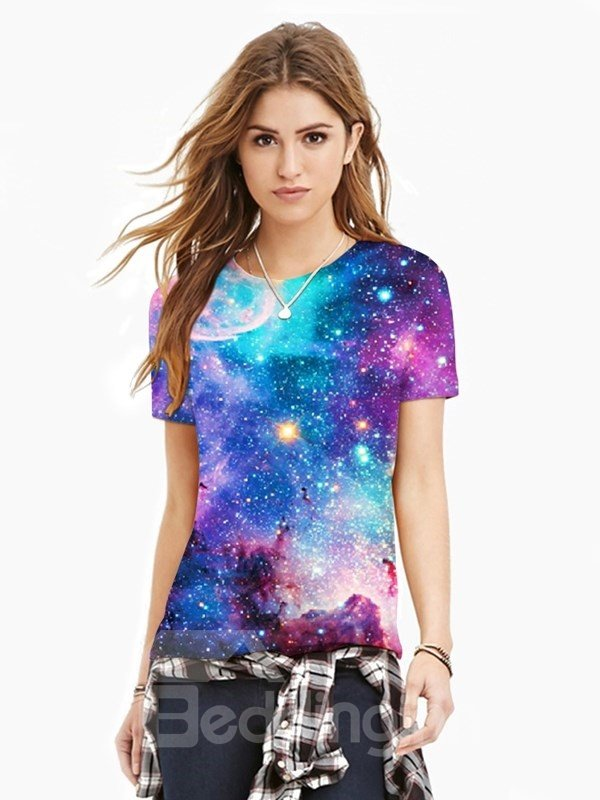Blue Galaxy Short Sleeve Unisex Casual 3D Pattern T-Shirt