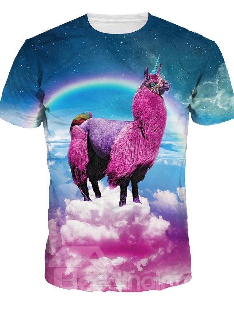 Alpaca Unisex Casual Printed Short Sleeve 3D Pattern T-Shirt