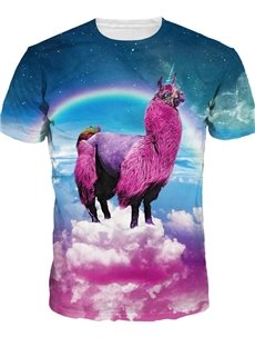 Fashion Round Neck Alpaca Pattern 3D Painted T-Shirt
