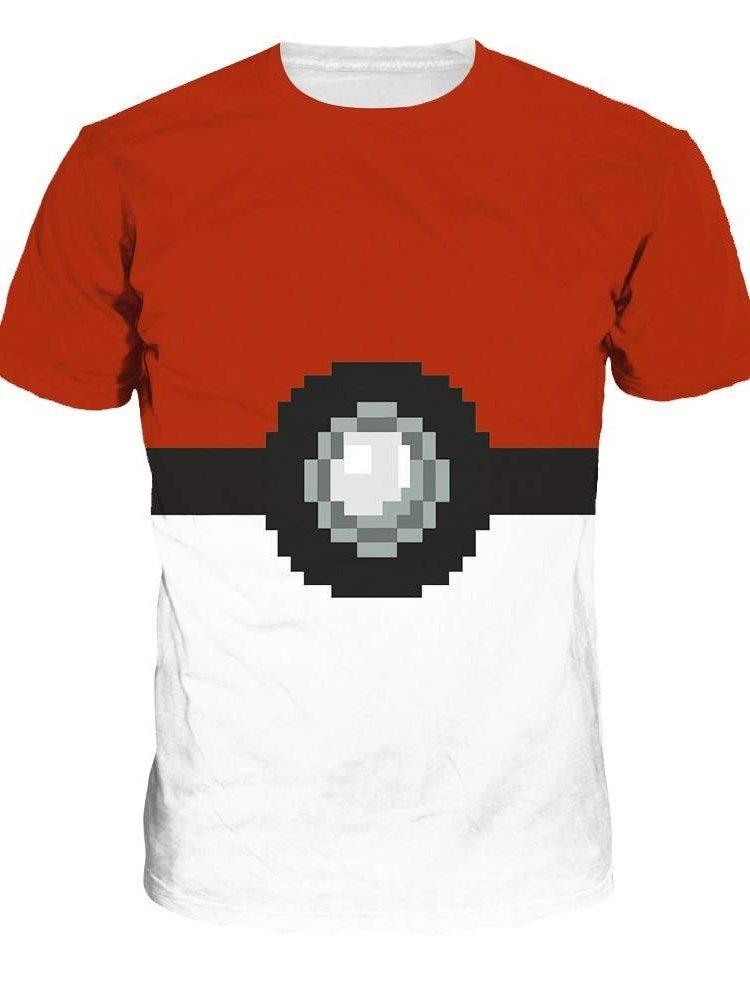 Round Neck Poke Ball Pattern 3D Painted T-Shirt