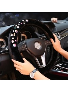 Classic Black Fantastic Rhinestones Decoration Beautiful Durable Medium Car Steering Wheel Cover