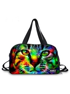 Colorful Cat Face Pattern 3D Painted Travel Bag