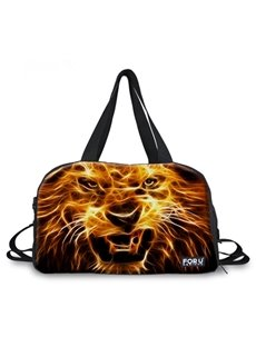 Modest Fire Lion Pattern 3D Painted Travel Bag