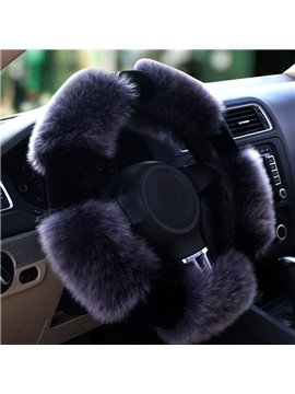 Special Style Design Winter Autumn Long Wool Material Warm Medium Car Steering Wheel Cover