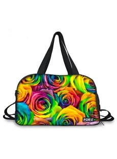 Bright Colorful Flowers Pattern 3D Painted Travel Bag