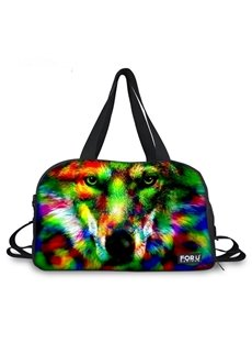 Cool Wolf Face Pattern 3D Painted Travel Bag