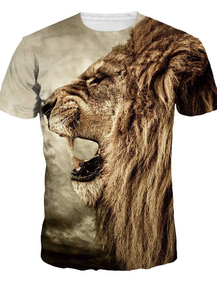 f160aba1c553 49 Lion Roar Pattern Design Personality Style Round Neck 3D Painted T-Shirt  for Men Women