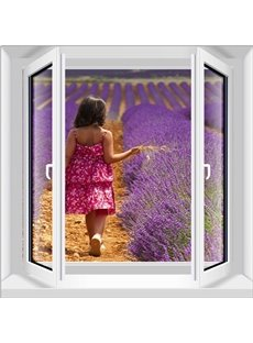 Unique Design a Beautiful Girl Walking on the Lavender Field Pattern 3D Wall Stickers