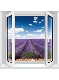 Gorgeous Lavender Field Window View Decorative 3D Wall Stickers