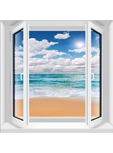 White Cloud and Blue Sea Window Scenery 3D Wall Stickers