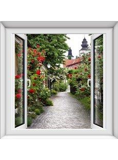 European Country Style Red Flower Natural Scenery Windows 3D Wall Stickers