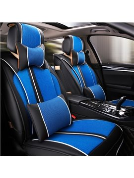 Fresh Blue With Black Color Mixing Durable PU And Ice Silk Material Universal Five Car Seat Cover