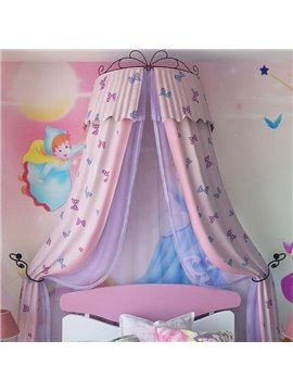 Lovely Double Layers Butterfly Pattern Preferred Fabric Kids Bed Canopy