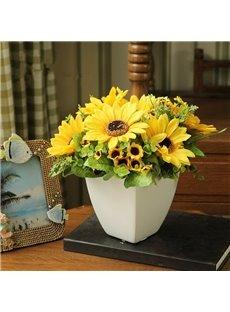 European Country Style Artificial Sunflowers Desktop Flower Sets
